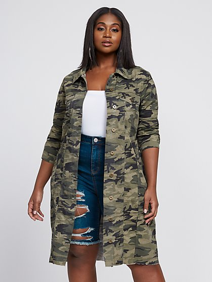 Plus Size Paloma Camo Long Trucker Jacket - Fashion To Figure