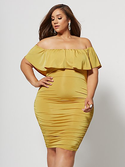 Plus Size Paloma Ruffle Detail Bodycon Dress - Fashion To Figure
