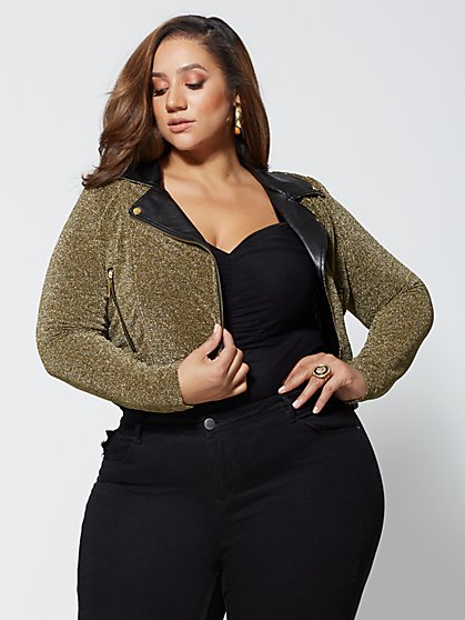 Plus Size Pamela Metallic Moto Jacket - Fashion To Figure