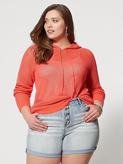 Plus Size Pamela Open Stitch Hoodie - Fashion To Figure