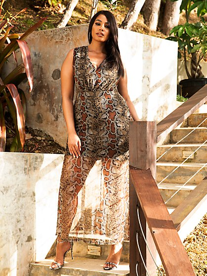 Plus Size Paola Animal Print Mesh Maxi Dress - Fashion To Figure