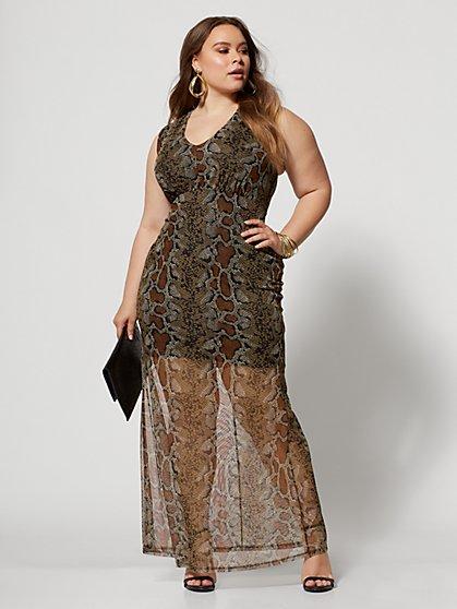 01b754d7b6b2 ... Plus Size Paola Animal Print Mesh Maxi Dress - Fashion To Figure ...