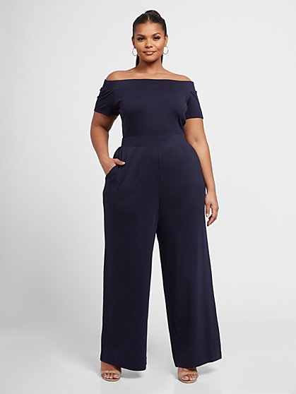 Plus Size Paola Off The Shoulder Wide Leg Jumpsuit - Fashion To Figure