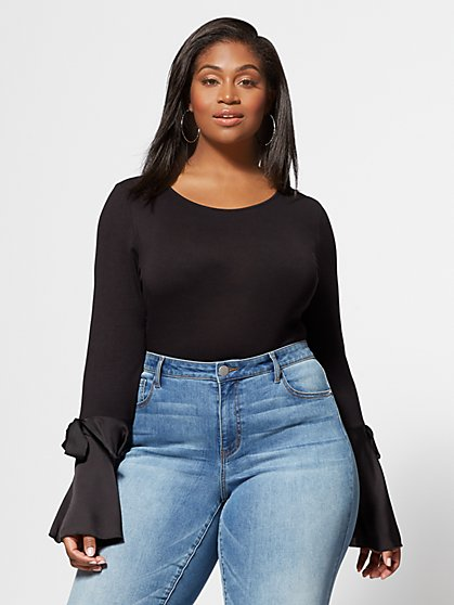 Plus Size Paris Satin Bell-Sleeve Top - Fashion To Figure