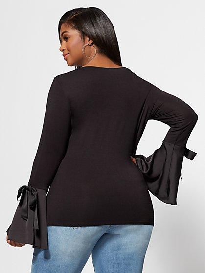 7defe6df966e0 ... Plus Size Paris Satin Bell-Sleeve Top - Fashion To Figure ...