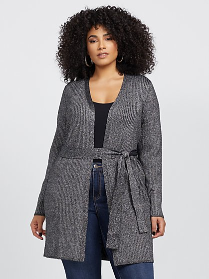 Plus Size Paris Shimmery Cardigan Sweater - Fashion To Figure