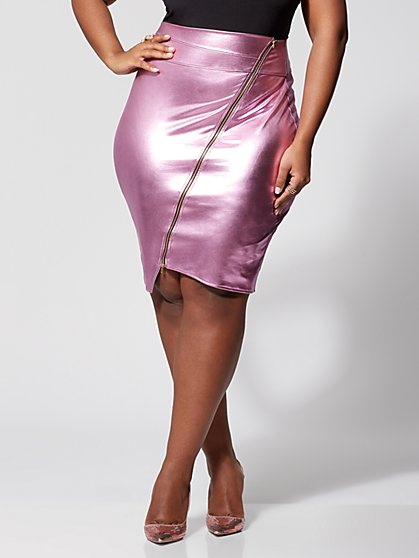 Plus Size Patti Faux-Leather Zip Pencil Skirt - Fashion To Figure