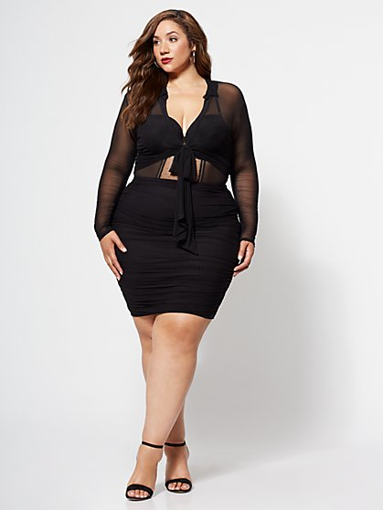 Plus Size Paulina Mesh Pencil Skirt - Fashion To Figure