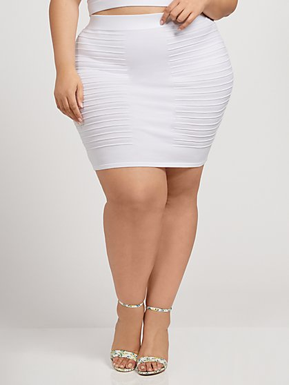 Plus Size Paulina Plaited Mini Sweater Skirt - Fashion To Figure