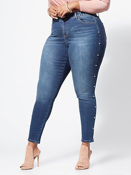 Plus Size Pearl-Lined Skinny Jeans - Fashion To Figure