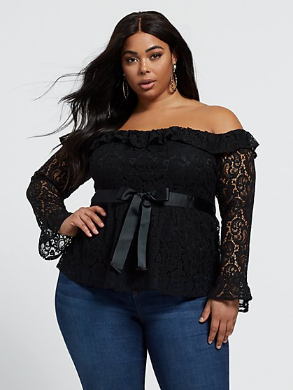 Plus Size Peggie Off Shoulder Lace Blouse - Fashion To Figure