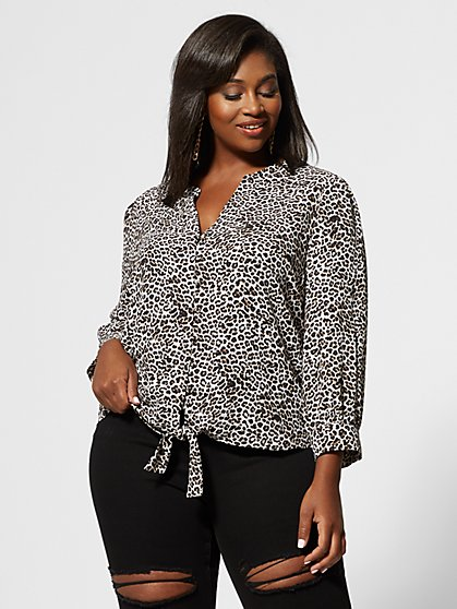 Plus Size Penelope Animal Print Button-Up Top - Fashion To Figure