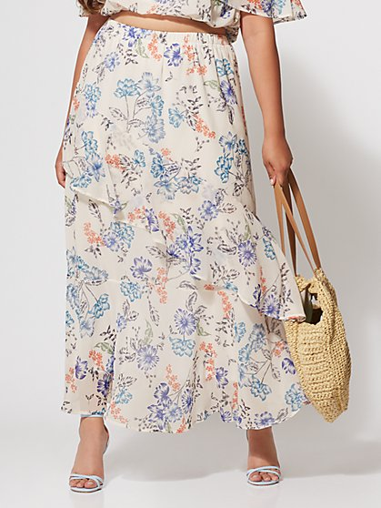 Plus Size Penelope Floral Maxi Skirt - Fashion To Figure