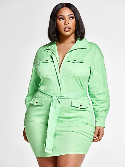 Plus Size Penelope Tie Waist Shirt Dress - Fashion To Figure