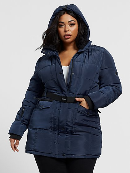 Plus Size Pennie Belted Puffer Coat - Fashion To Figure