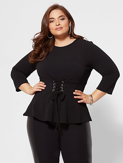 Plus Size Penny Corset-Waist Top - Fashion To Figure