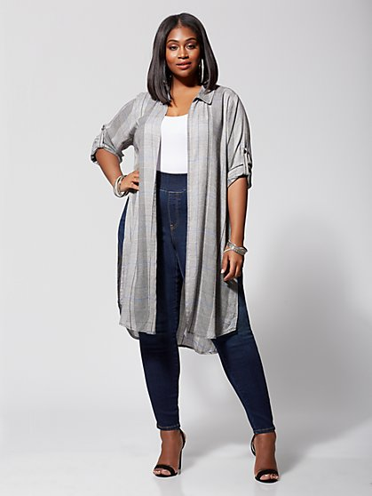 Plus Size Penny Open-Front Plaid Duster - Fashion To Figure