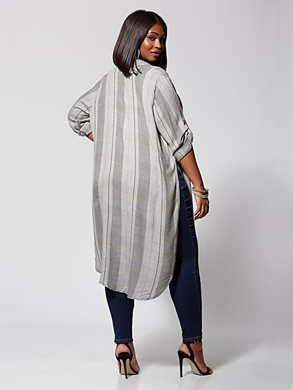 4baa47add678c ... Plus Size Penny Open-Front Plaid Duster - Fashion To Figure ...