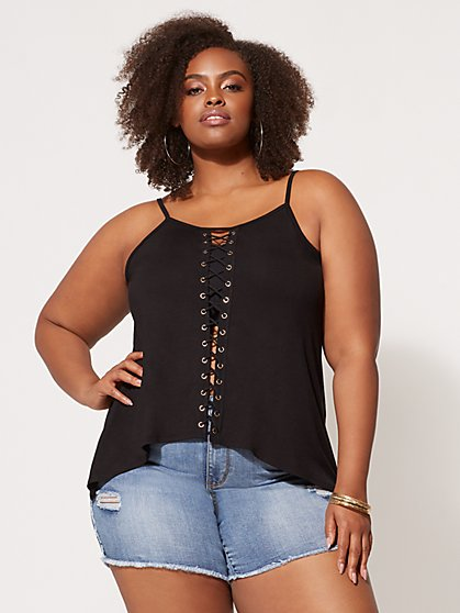Plus Size Perri Lace-Up Tank Top - Fashion To Figure