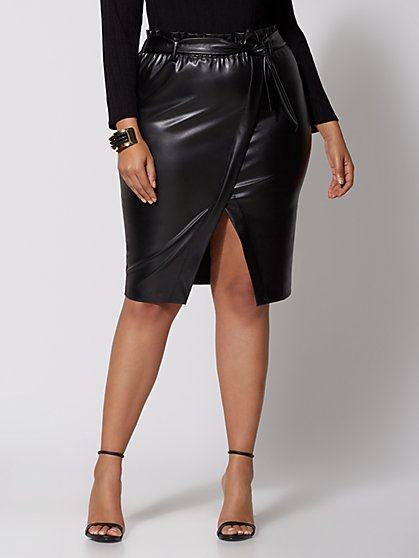 Plus Size Perry Faux-Leather Paperbag Skirt - Fashion To Figure