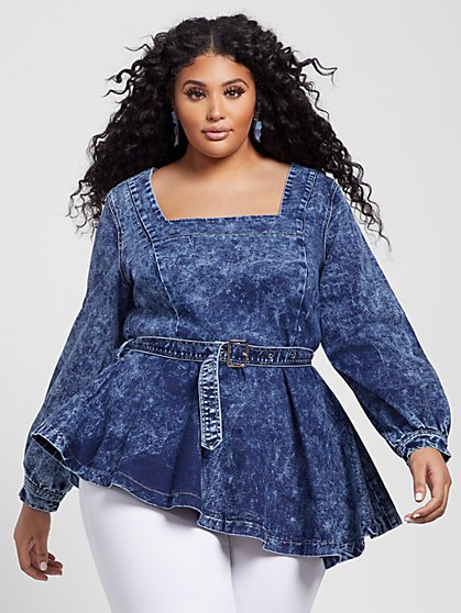Plus Size Peyton Asymmetrical Denim Peplum Top - Fashion To Figure