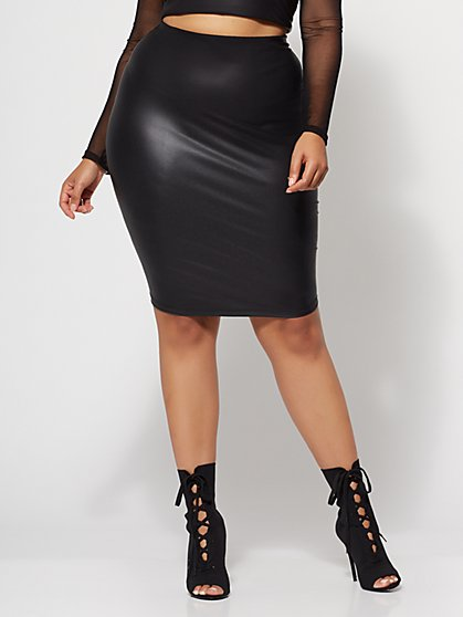 Plus Size Peyton Faux-Leather Pencil Skirt - Fashion To Figure