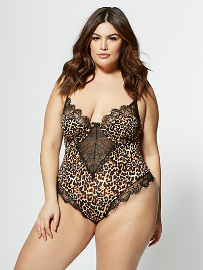 Plus Size Phi Phi Cheetah Print Bodysuit - Fashion To Figure