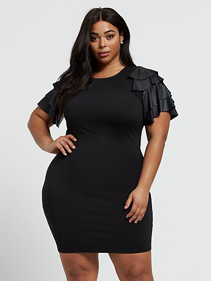 Plus Size Phoebe Faux-Leather Sleeve Dress - Fashion To Figure