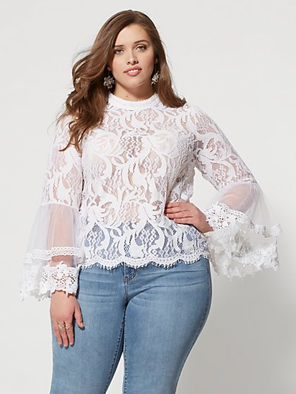 Plus Size Phoenix Mesh Blouse - Fashion To Figure