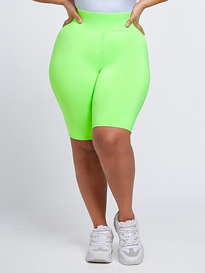 Plus Size Pia Green Yoga Bike Shorts - Fashion To Figure