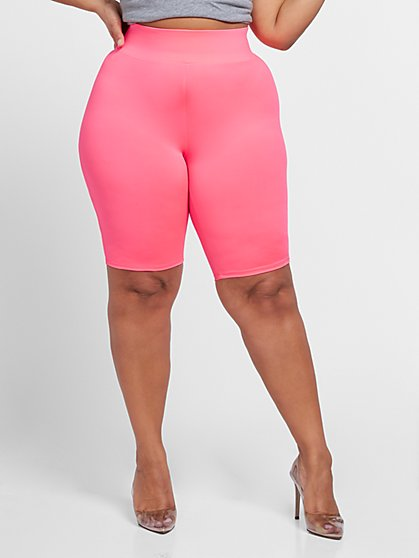 Plus Size Pia Pink Yoga Bike Shorts - Fashion To Figure