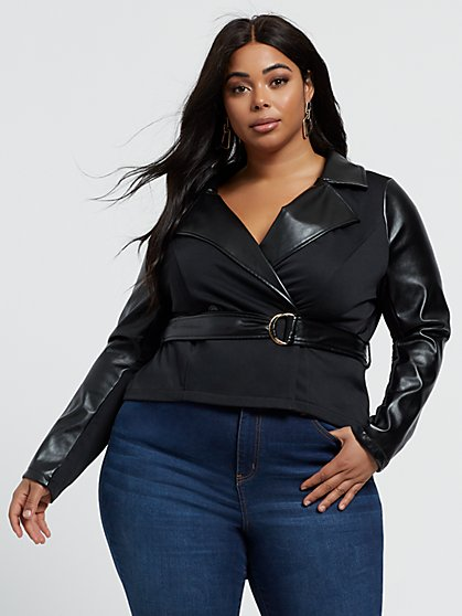 Plus Size Piera Faux-Leather Trim Belted Jacket - Fashion To Figure