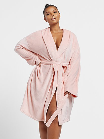Plus Size Pink Fleece Robe - Fashion To Figure