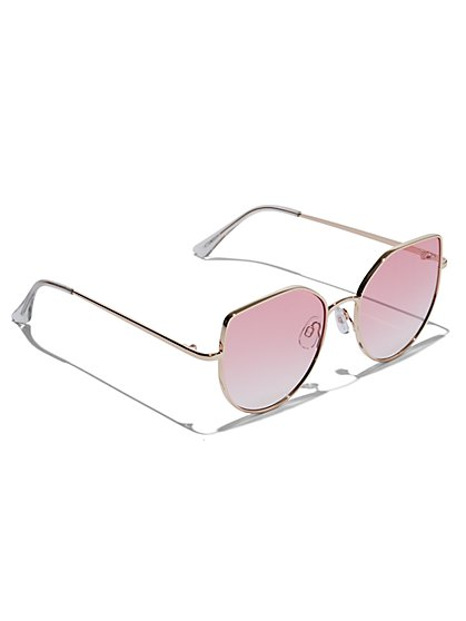 Plus Size Pink Lens Wire Frame Sunglasses - Fashion To Figure