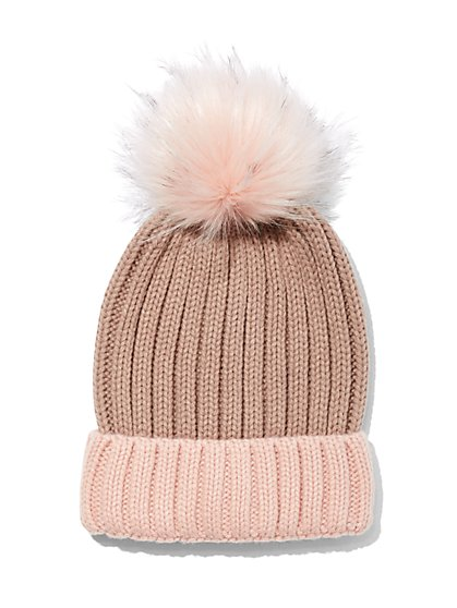 Plus Size Pink Pom-Pom Beanie - Fashion To Figure