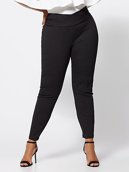 Plus Size Pinstripe Ponte Pants - Fashion To Figure