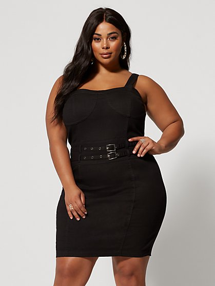Plus Size Piper Black Denim Dress - Fashion To Figure