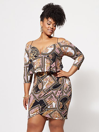 Plus Size Piper Status-Print Bodycon Dress - Fashion To Figure