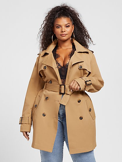 Plus Size Piper Trapunto Stitch Trench Coat - Fashion To Figure