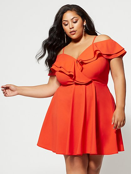 Plus Size Pippa Ruffle Flare Dress - Fashion To Figure