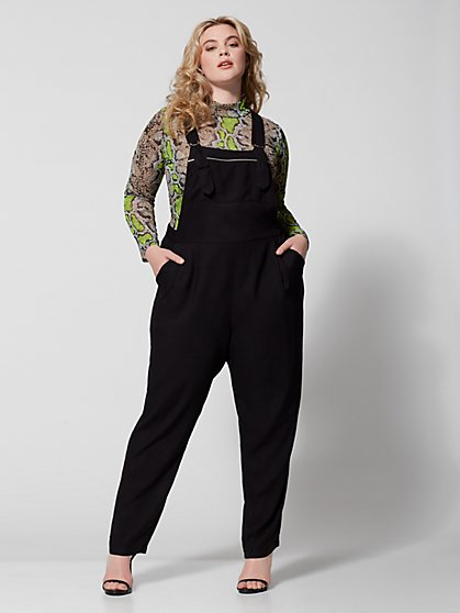 Plus Size Pixie Black Overall Jumpsuit - Fashion To Figure