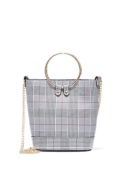 Plus Size Plaid Bucket Bag - Fashion To Figure