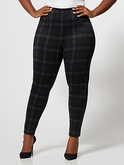 Plus Size Plaid Print Ponte Pants - Fashion To Figure