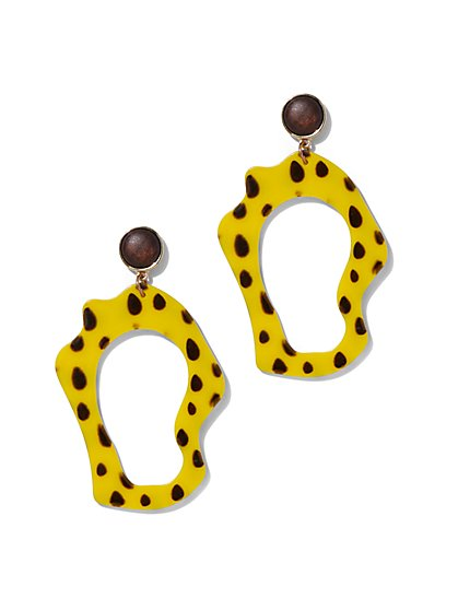 Plus Size Polka-Dot Yellow Statement Earring - Fashion To Figure