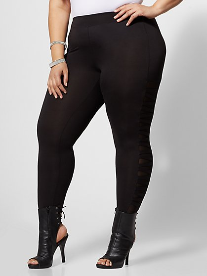 Plus Size Portia Mesh Cut-Out Leggings - Fashion To Figure