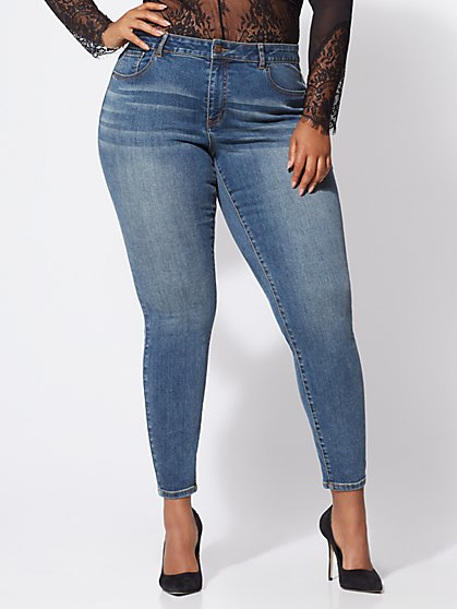 Plus Size Premium Lycra® Beauty Skinny Jeans - Vintage Wash - Fashion To Figure