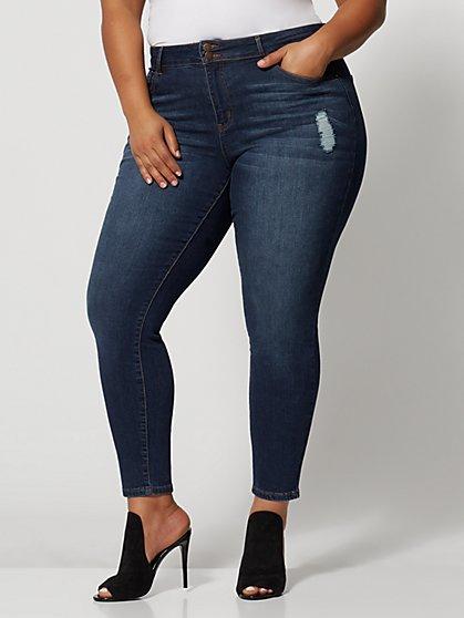 99101b25cef Plus Size Premium Mid-Rise Skinny Jeans - Dark Wash - Fashion To Figure ...
