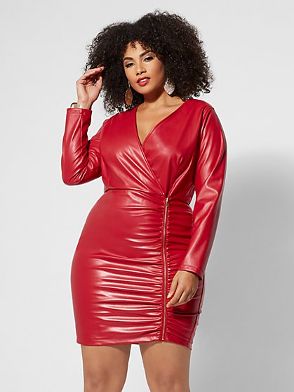 Plus Size Priscilla Faux-Leather Zip Dress - Fashion To Figure
