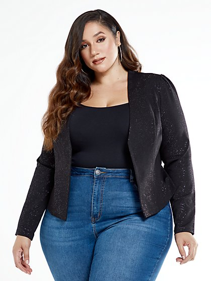 Plus Size Priscilla Metallic Knit Blazer - Fashion To Figure