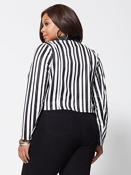 b266cff7732 ... Plus Size Priscilla Striped Moto Jacket - Fashion To Figure